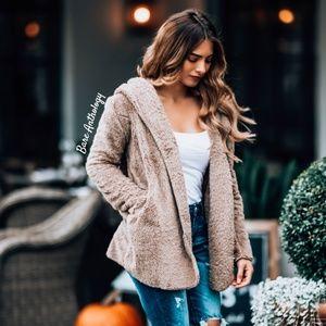 Jackets & Blazers - Fuzzy Hoodie Jacket TAUPE
